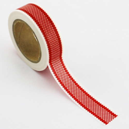 Washi Tape rot mit Bordüre-Muster (1 Rolle)