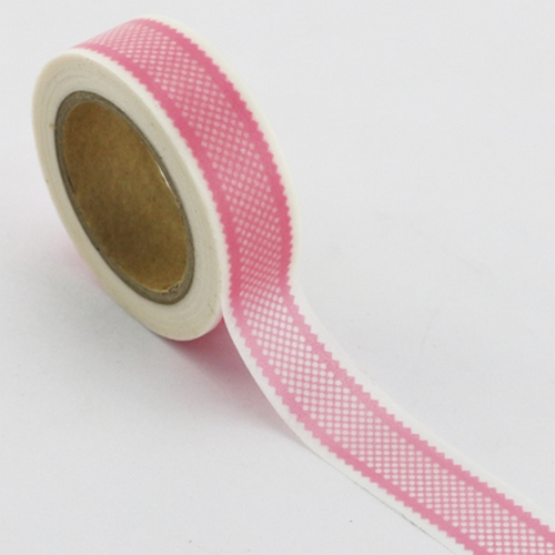Washi Tape rosa/pink mit Bordüre-Muster (1Rolle)