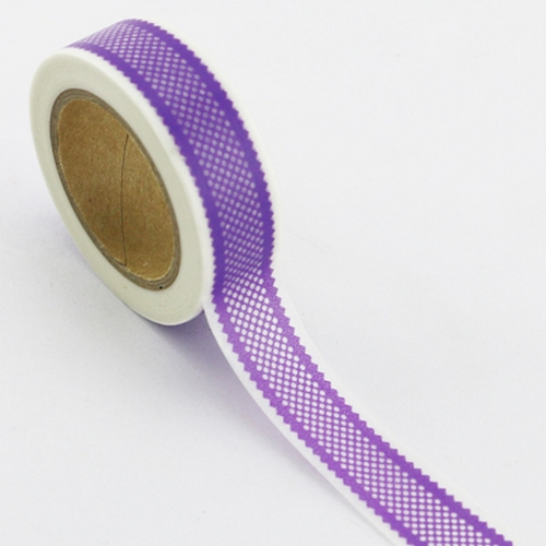 Washi Tape lila mit Bordüre-Muster (1 Rolle)