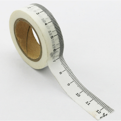 Washi Tape weiss mit Lineal-Muster (1 Rolle)