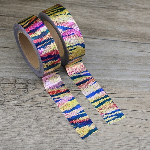 Washi Tape Folie, farbig gestreifte Muster (1Rolle)