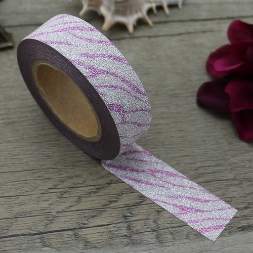 Washi Tape Glitter, pink/silber gemustert (1 Rolle)