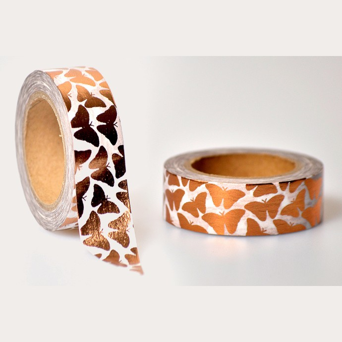 Washi Tape bronce Schmetterlinge